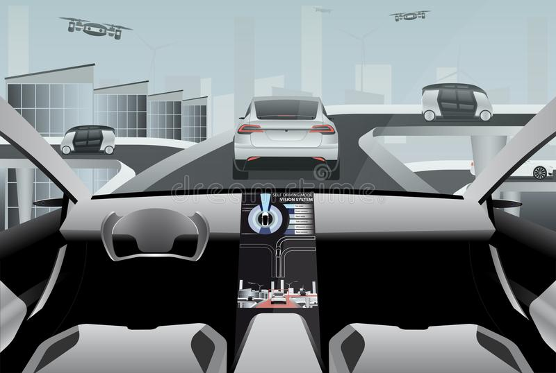 Futuristic self driving car on a high-tech road stock illustration