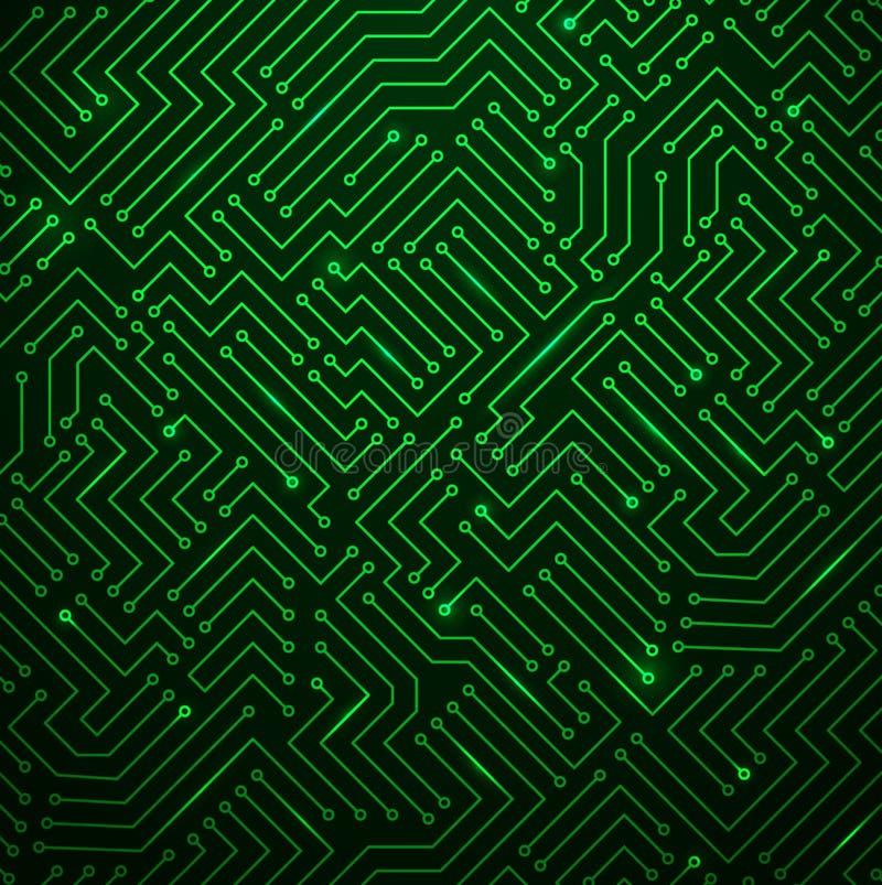 Futuristic Shining Green Technology Backgorund royalty free illustration