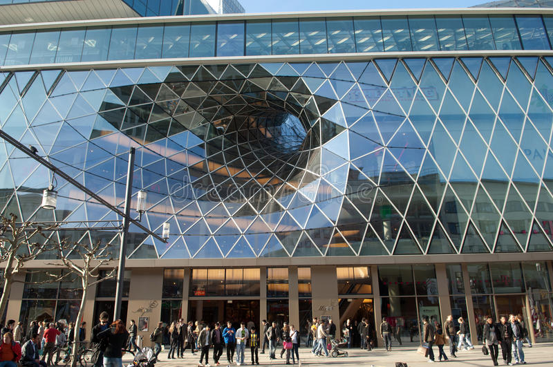 Futuristic shopping center in Frankfurt stock photos