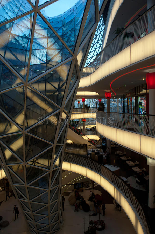 Futuristic shopping center in Frankfurt royalty free stock images
