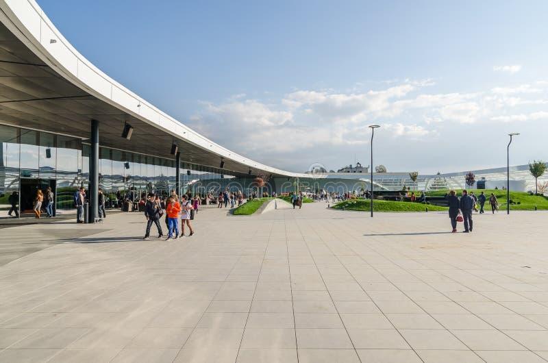 Futuristic Shopping Mall Exterior Promenade stock images