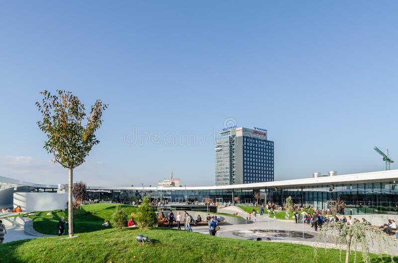 Futuristic Shopping Mall Exterior Promenade stock photos