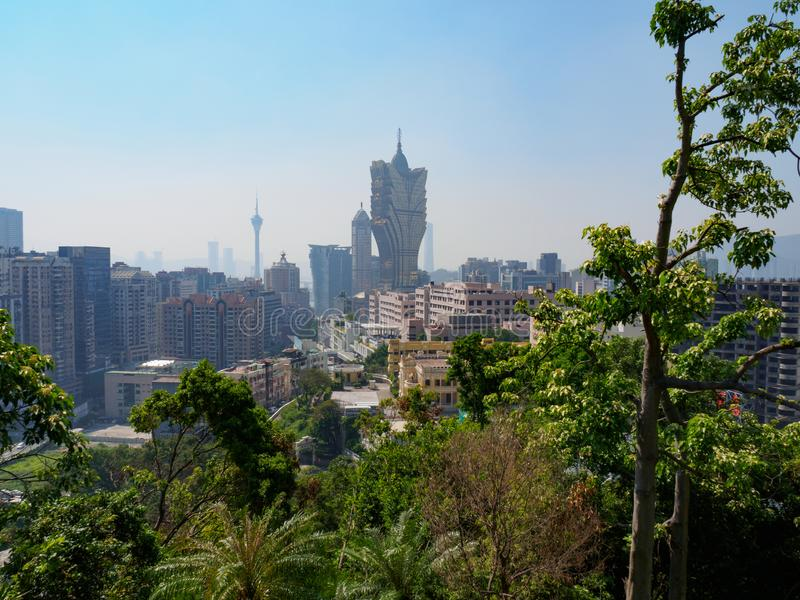 The futuristic skyline of Macau during the day royalty free stock photos