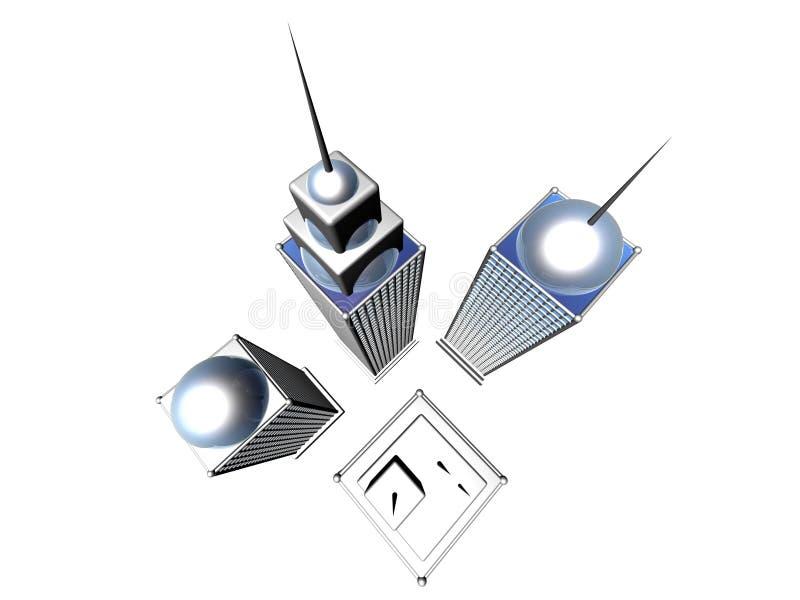 Download Futuristic skyscrapers 2 stock illustration. Illustration of antenna - 109599