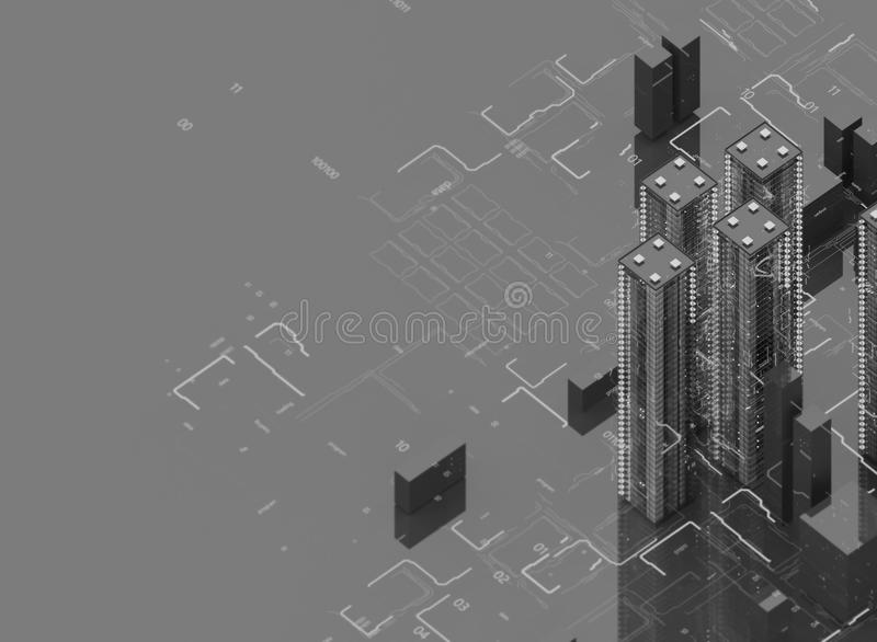 Futuristic skyscrapers in the flow. The flow of digital data. city of the future. 3D illustration. 3D rendering. Black royalty free illustration