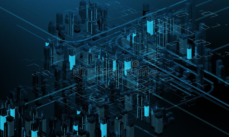 Futuristic skyscrapers in the flow. The flow of digital data. city of the future. 3D illustration. 3D rendering. Futuristic skyscrapers in the flow of royalty free illustration