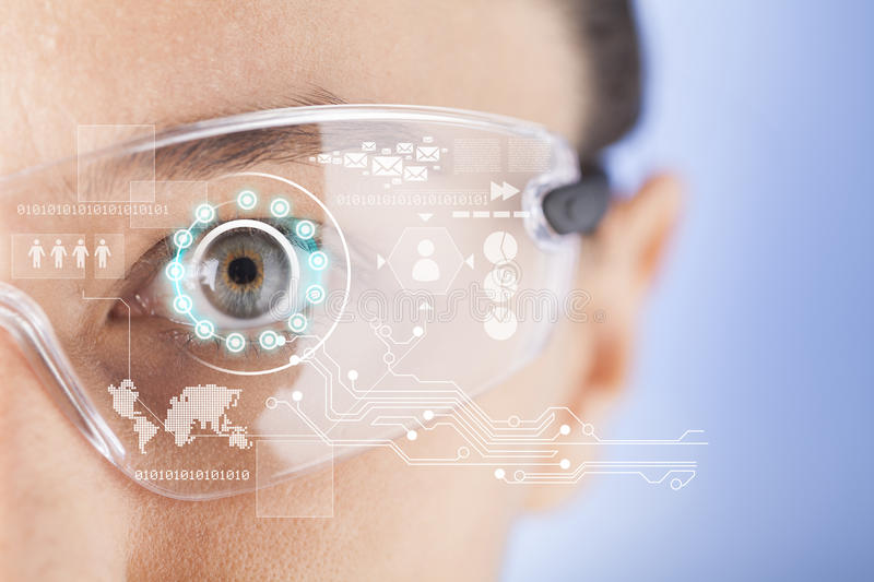 Futuristic smart glasses royalty free stock images