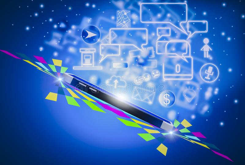 Futuristic smartphone for technology of future, with icon social media and symbol on blue background,Concept internet of things royalty free illustration