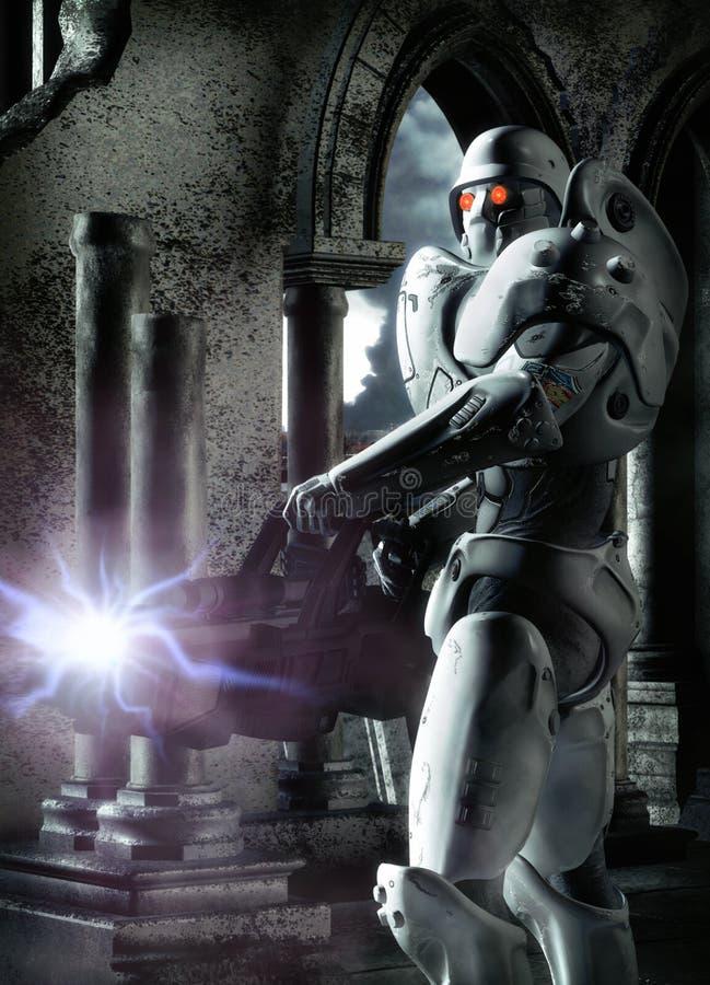 futuristic soldat vektor illustrationer