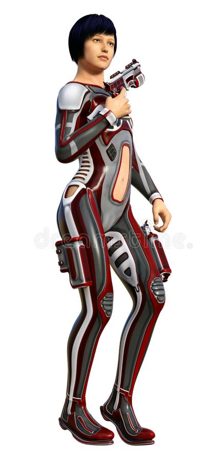 Futuristic soldier girl, armed with gun, 3d illustration royalty free illustration