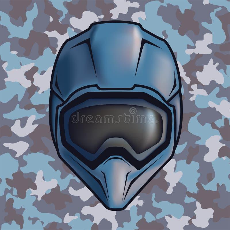 Futuristic soldier helmet stock illustration