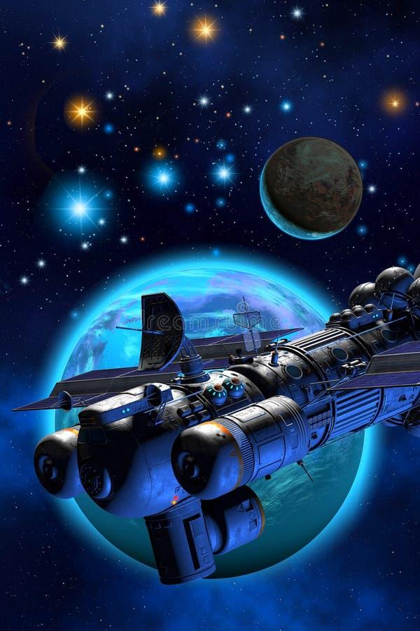 Cargo spaceship flying around an alien planetary system, 3d illustration vector illustration
