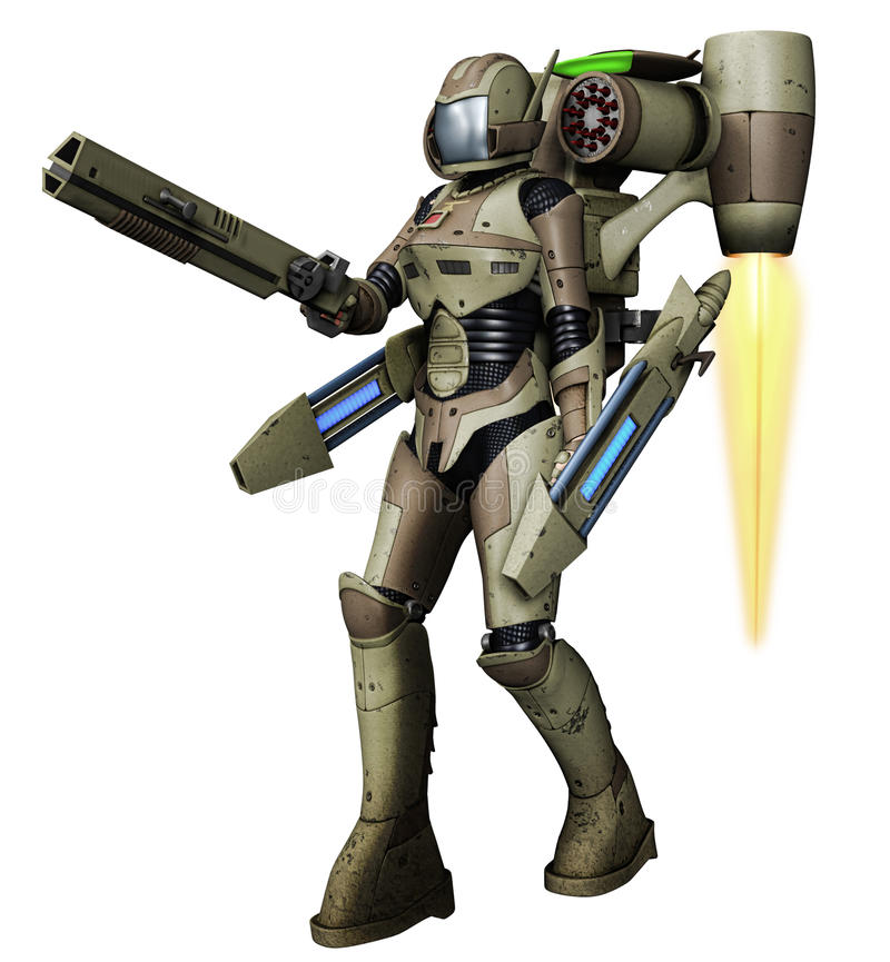 Futuristic soldier with laser guns vector illustration