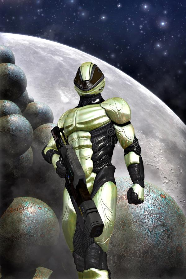 Futuristic soldier and moon stock illustration