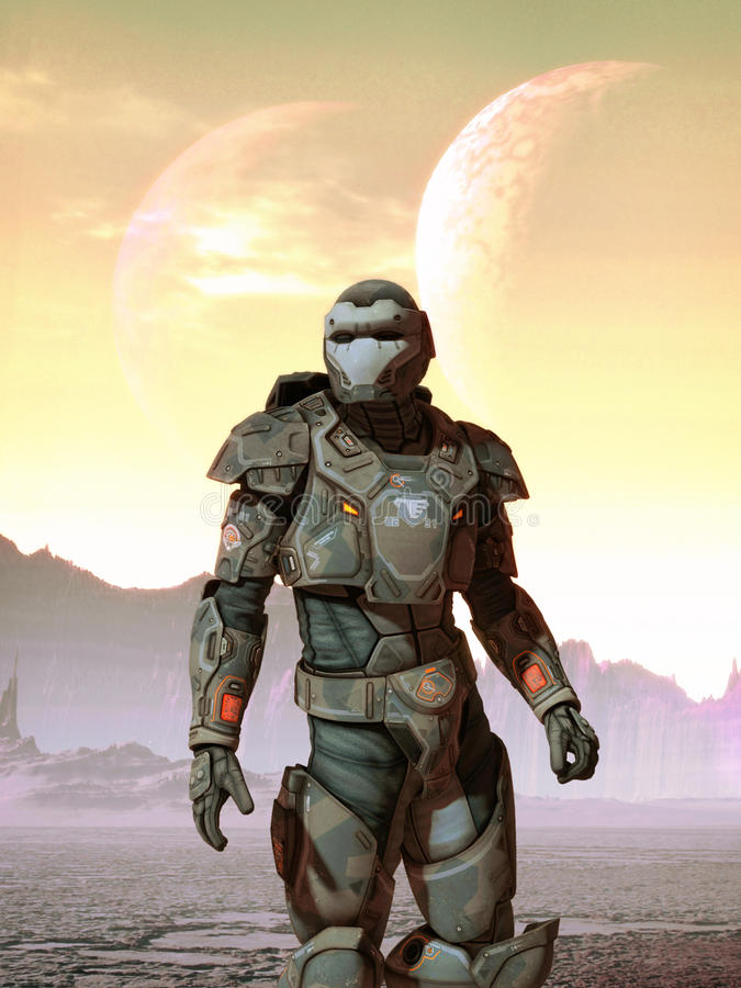 Futuristic soldier and moons stock illustration