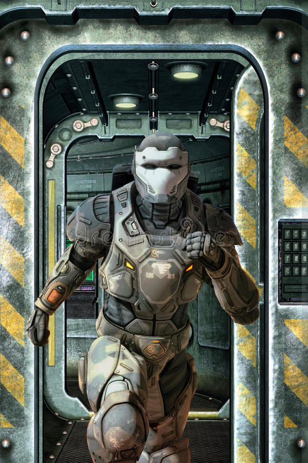Futuristic soldier running vector illustration