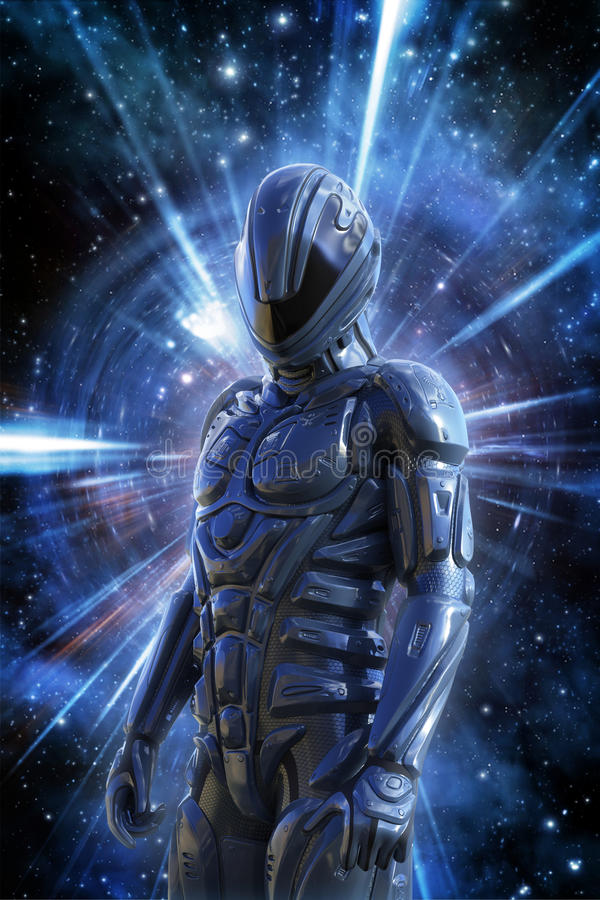 Futuristic soldier and space warp vector illustration