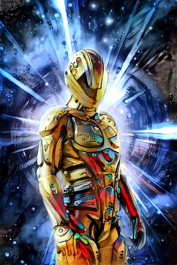 Futuristic soldier and space warp painted. 3D render science fiction illustration stock illustration