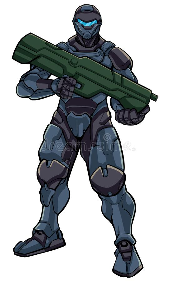 Futuristic Soldier Standing. Illustration of futuristic soldier in high-tech exoskeleton armor suit holding big laser gun stock illustration