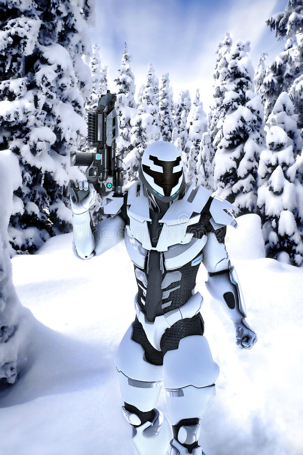 Futuristic soldier in a wood with snow stock illustration