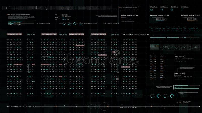 Futuristic Source Code Digital Data Telemetry Display stock illustration
