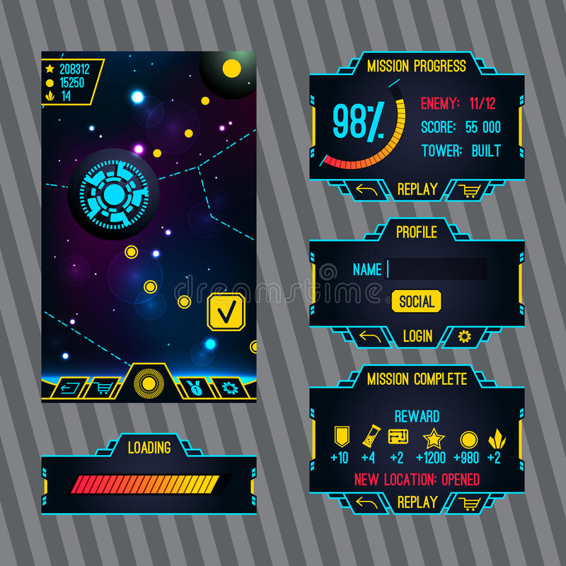 Futuristic space game interface with screen. S. Loading, mission, login, profile and main screen royalty free illustration