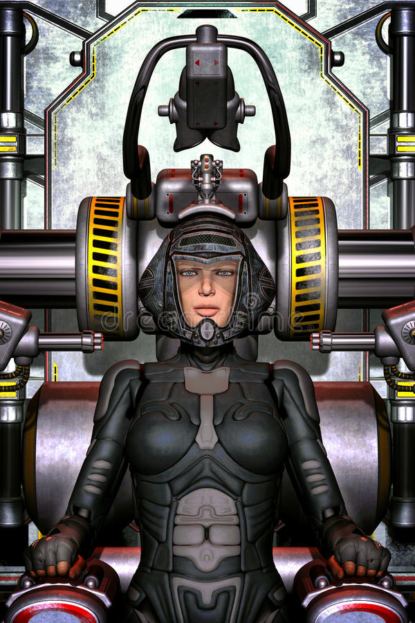 Futuristic space pilot girl royalty free illustration