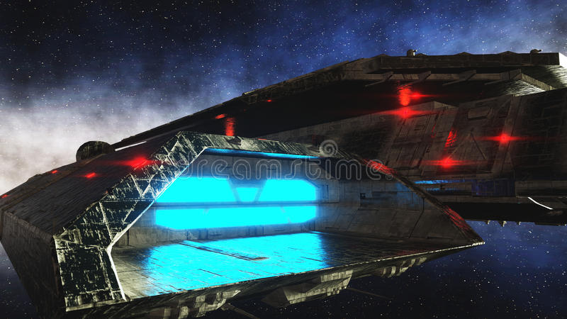 Futuristic space ship in . Earth planet wonderfull view. realistic metal surface . 3d rendering. royalty free illustration
