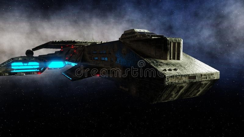 Futuristic space ship in . Earth planet wonderfull view. realistic metal surface . 3d rendering. vector illustration