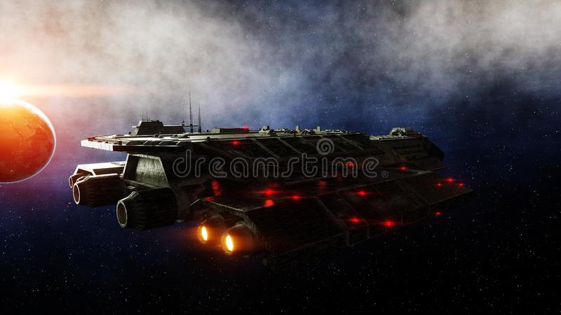 Futuristic space ship in . Earth planet wonderfull view. realistic metal surface . 3d rendering. stock illustration