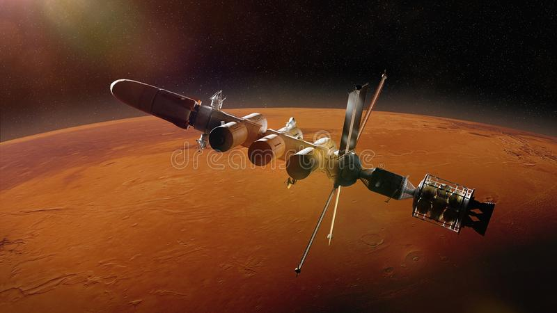 Futuristic space ship in orbit of the planet Mars, mission to the red planet 3d science fiction illustration, elements of this im royalty free illustration