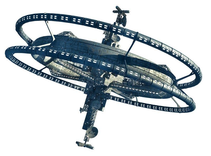 Futuristic space station vector illustration