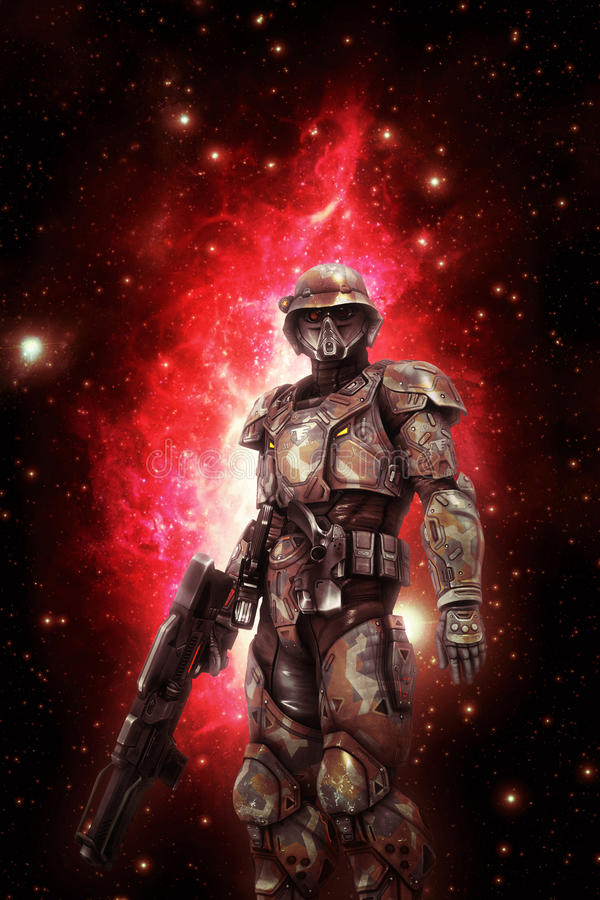 Futuristic space trooper soldier stock illustration