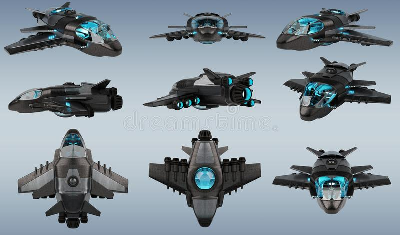 Futuristic spacecraft collection isolated on grey background 3D royalty free illustration