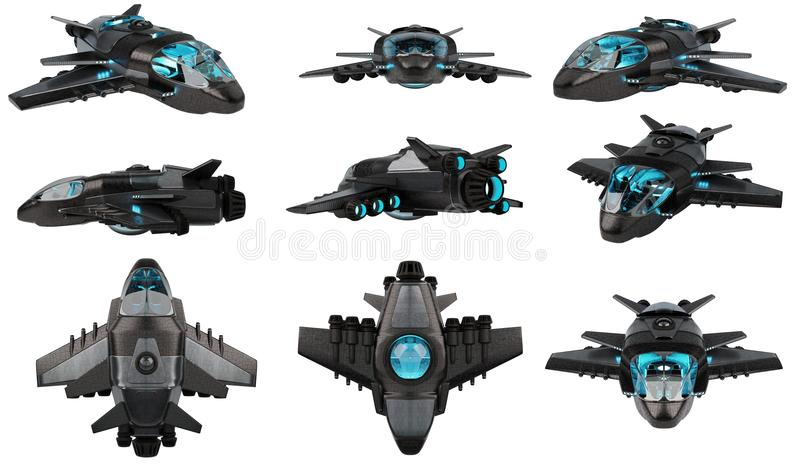 Futuristic spacecraft collection isolated on white background 3D rendering vector illustration