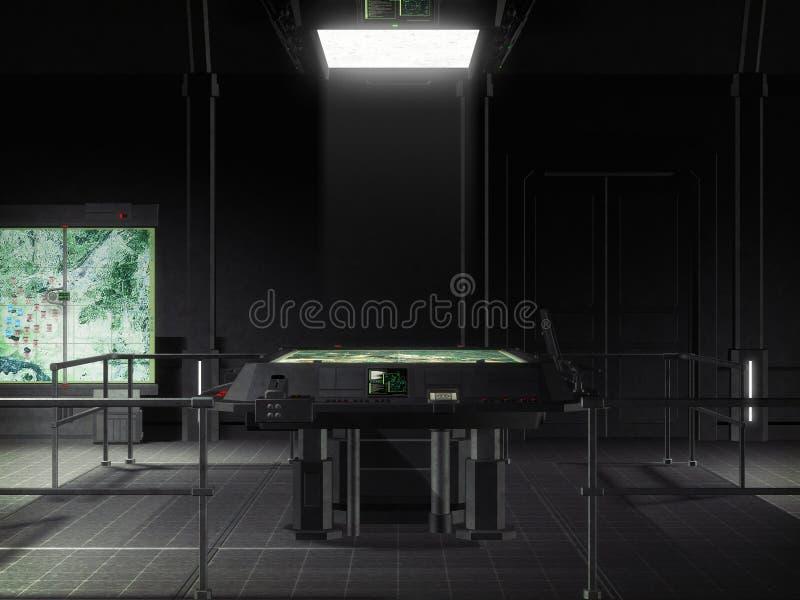 Futuristic spaceship command room vector illustration