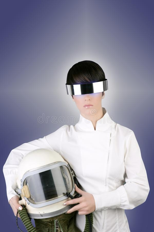 Futuristic spaceship helmet astronaut woman. Futuristic spaceship aircraft astronaut helmet woman space metaphor stock photography