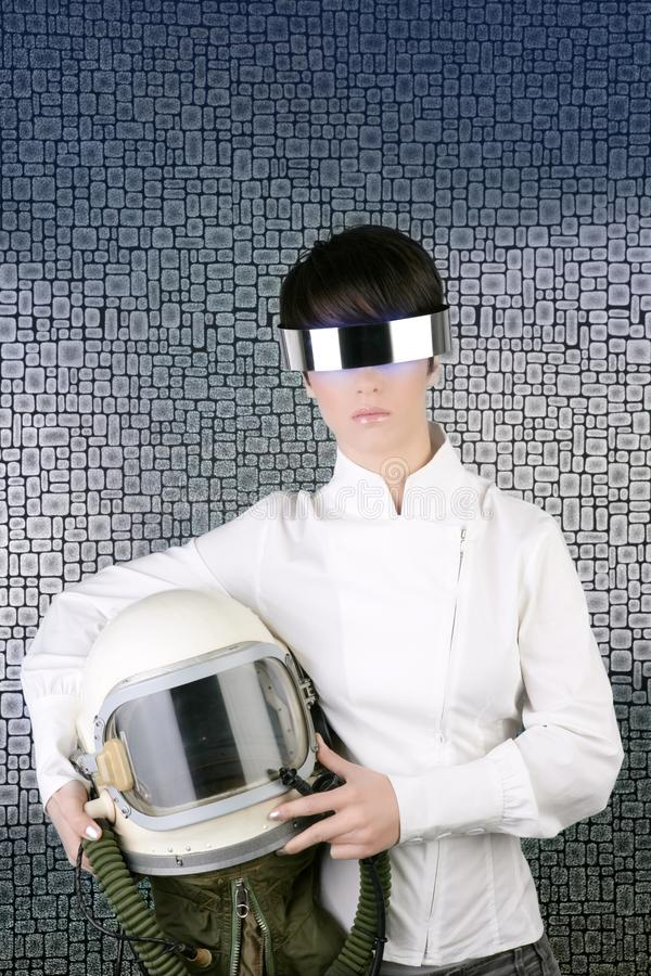 Futuristic spaceship helmet astronaut woman. Futuristic spaceship aircraft astronaut helmet woman space metaphor stock photo