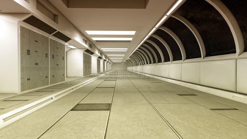Futuristic spaceship interior corridor. 3d render. Futuristic spaceship interior corridor stock images