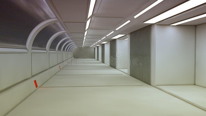 Futuristic spaceship interior corridor. 3d render. Futuristic spaceship interior corridor royalty free stock photography