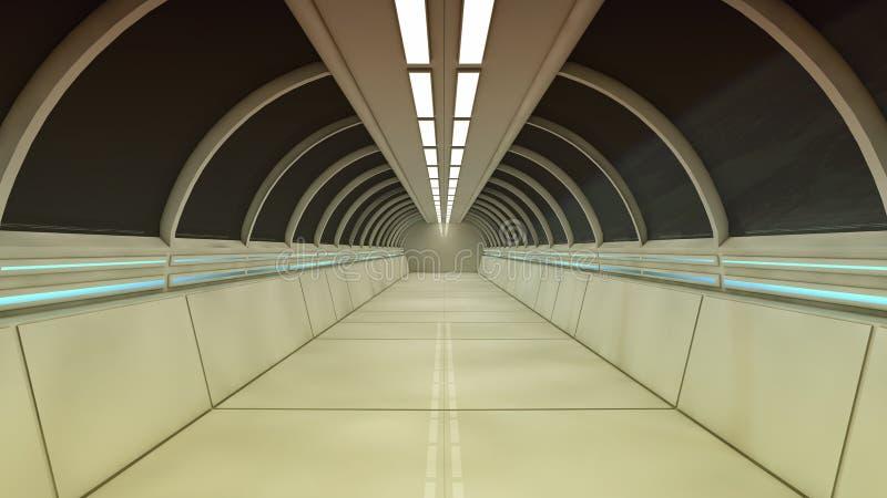 Futuristic spaceship interior corridor stock photos