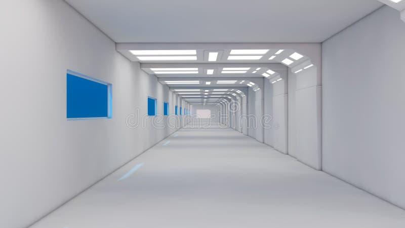 Futuristic spaceship interior corridor. 3d render. Futuristic spaceship interior corridor stock photo