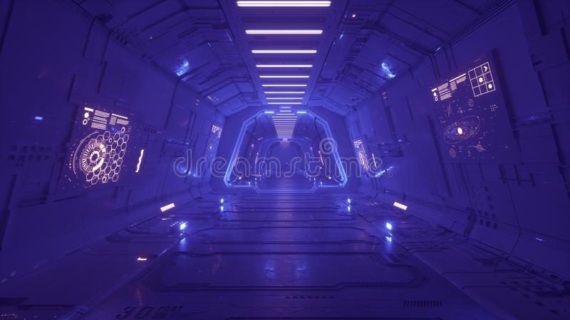 Futuristic spaceship interior corridor 3d render royalty free illustration