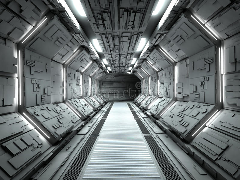 Futuristic spaceship interior stock illustration
