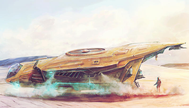 Futuristic spaceship landing on lost post apocalyptic planet concept art. Futuristic spaceship landing on lost planet drawing stock illustration