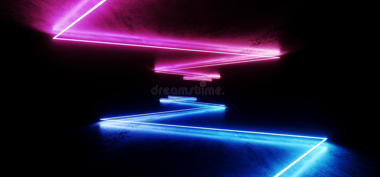 Futuristic Spaceship Stage Sci Fi Neon Glowing Purple Blue Laser Chaotic Abstract Virtual Fluorescent Dark Grunge Concrete Tunnel. Corridor Hallway Underground stock illustration