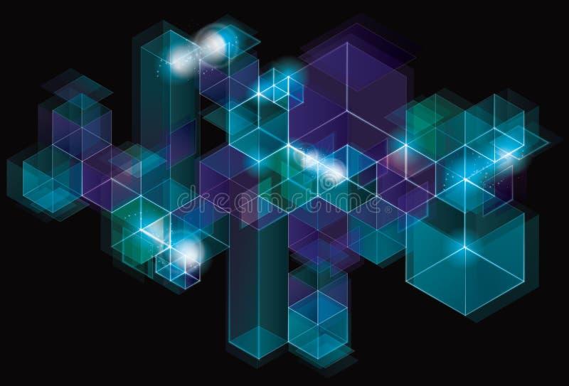 Futuristic sparkling geometric cube background vector illustration
