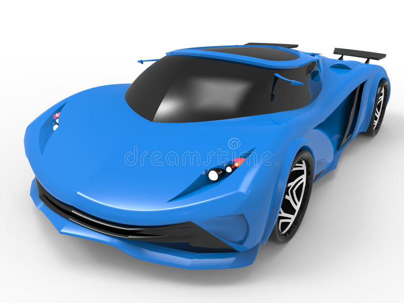 Futuristic sports car. 3D render illustration of a futuristic sports car. The car is on a white background with shadows royalty free illustration