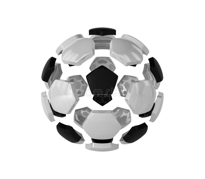 A futuristic sports concept of a soccer ball on white background isolated. Abstract football ball - 3D render stock illustration