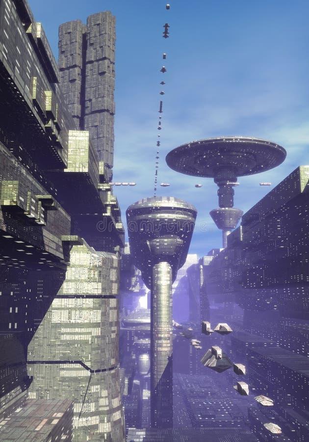 futuristic stad vektor illustrationer